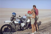 summer 1985_crossing SAHARA East-West with BMW- offroad-motorcycle, here: TUNISIA, crossing salt lake Chott-El-Djerid with Italian BMW motorcyclists_some nice and funny days together_Jochen A. Hübener
