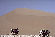 crossing SAHARA East-West by motorcycle in summer 1985, here: ALGERIA, close to Beni Abbes, close to the border of  MOROCCO_more and more soft and deep sand_Jochen A. Hübener