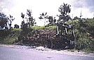 1991_ZAMBIA_this region was at that time very, very unsafe_here an attacked bus_by bazooka_many persons (24) died_this extremely dangerous road is for around 50 kms the border between ZAMBIA and MOZAMBIQUE_I stopped only to make this photo ...