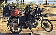 my world-trip-motorcycle, my fourth BMW offroad bike, called 'Fritz, the black bully', here on the island of 'Ko Samui', Thailand 1996